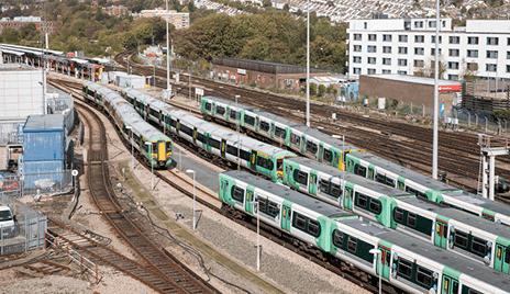 Multiple trains on railway tracks